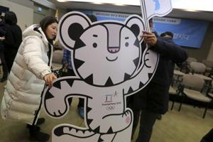 Official mascot of the 2018 Pyeongchang Olympic Winter Games, white tiger Soohorang. Hackers, reported to be associated with the Russian government, were calling themselves Fancy Bears - a trolling reference to the Games' mascots.