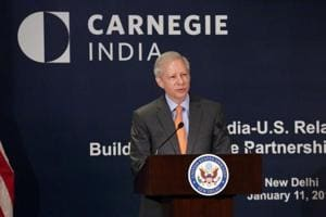 US ambassador to India Kenneth  Juster speaks on the US-India relations in New Delhi on Thursday.