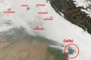 Satellite image of the fog holes over the Indo-Gangetic Plain, including New Delhi.