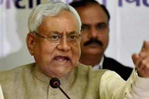 Bihar chief minister Nitish Kumar on Friday escaped unhurt when angry Dalit villagers pelted  stone on his convoy in Buxar district