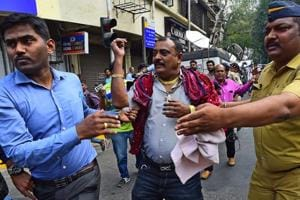 Karni Sena protests outside CBFC office in Mumbai