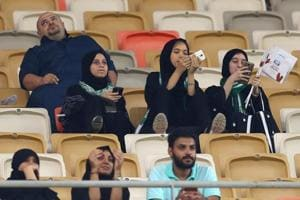 Saudi football stadium welcomes women for first time