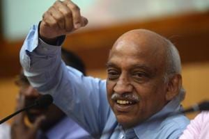 Indian Space Research Organisation (Isro) chairman Kiran Kumar Reddy gestures after the successful launch of earth observation satellite CARTOSAT-2 in Sriharikota on January 12, 2018.