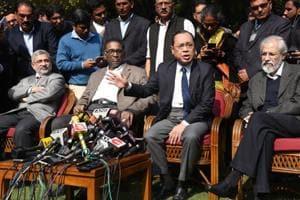 Supreme Court judges ( L-R ) Kurian Joseph, J Chelameswar, Ranjan Gogoi and MBLokur address the media in New Delhi on Friday.