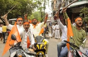 Hindu organisations took out a procession with bike and sword on the occasion of Ram Navami from Bhawanipore, South Kolkata area in Kolkata, India, on April 5, 2017.