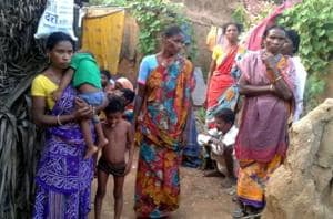 Family members and relatives at the house Rooplal Marandi , who died after he was allegedly refused subsidised supplies,  at Manoharpur village in Deoghar on October 24, 2017.