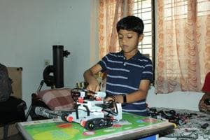 Sarang Sumesh, a 9-year-old from Kochi, is obsessed with robots. (HTPhoto)