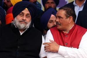 SAD president and former deputy CM of Pujab, Sukhbir Singh Badal (left) and Punjab BJP president Vijay Sampla during SAD's conference at the annual Maghi Mela in Muktsar on Sunday.