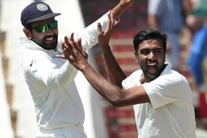 Ravichandran Ashwin celebrates the wicket of Aiden Markram during the second Test between India and South Africa in Centurion.