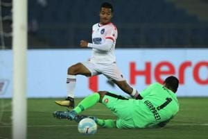 Lallianzuala Chhangte of Delhi Dynamos FC scores vs Bengaluru FC in their Indian Super League (ISL) match at the Jawaharlal Nehru Stadium, New Delhi on January 14, 2018.