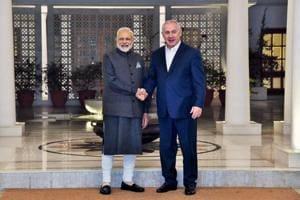 Prime Minister Narendra Modi with his Israeli counterpart Benjamin Netanyahu in New Delhi on Sunday.