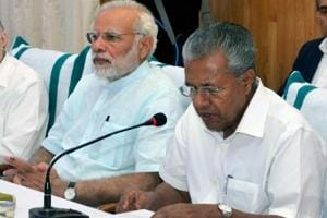 Prime Minister Narendra Modi with Kerala chief minister P Vijayan. Kerala is one of the states that have opted out of the Transforming India by 2022 scheme for not being consulted early enough.