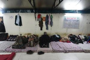 THE HAVES: The night shelter near Gurdwara Bangla Sahib has woollen blankets, clean bedding and shared baths and toilets. A doctor visits the shelter twice a week..