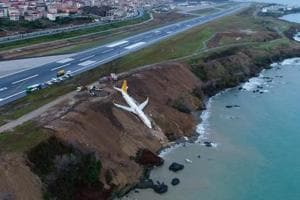 Plane skids off Turkish runway, stops metres away from Black Sea; all...