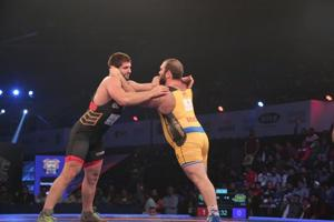 Grapplers in action during the Pro Wrestling League in New Delhi on Sunday evening.