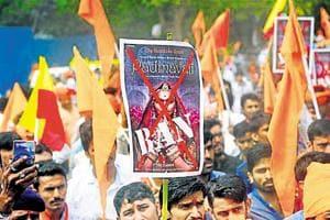Members of Rashtriya Rajput Karni Sena during a protest demanding for a total ban on movie