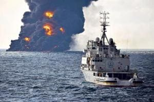 Burning Iranian tanker leaves 10-mile oil slick in East China Sea:...