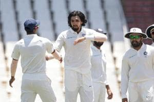 Indian bowler Ishant Sharma (C) celebrates the dismissal of South Africa captain Faf du Plessis (not in picture) during the second day of the second Test at SuperSport Park in Centurion.