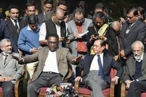 Supreme Court judge J Chelameswar along with Justice Ranjan Gogoi, Madan Lokur and Kurian Joseph during a press conference in New Delhi on Friday.