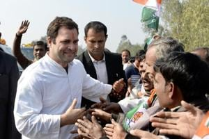 Congress President Rahul Gandhi being welcomed by the supporters on his arrival in Amethi on Monday.