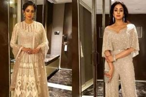 Sridevi oozes glamour in not one but two glittering outfits. We love...