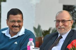 Delhi Lt Governor Anil Baijal with chief minister Arvind Kejriwal at an event.