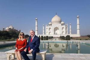Israeli Prime Minister Benjamin Netanyahu and his wife Sara Netanyahu pose for a picture during a visit to Taj Mahal in Agra on Tuesday.