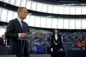 European Council President Donald Tusk delivers a speech during a debate on the last December European summit and Brexit at the European Parliament in Strasbourg, France, January 16, 2018.