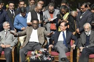 Supreme Court judge Jasti Chelameswar along justice Ranjan Gogoi, justice Madan Lokur and justice Kurian Joseph during a press conference in New Delhi on Friday.