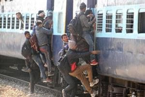 Around 60,000 candidates are participating in the recruitment drive, and most of them prefer travelling to Gwalior by train.