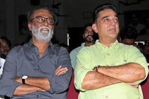 Actors Rajinikanth (L) and Kamal Haasan at the launch of the movie Kizhakku Africavil Raju in Chennai on Wednesday.