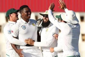 Lungi Ngidi celebrates the wicket of Rohit Sharma on Day 5 of the second Test between South Africa and India at Centurion. Get highlights of IND vs SA, 2nd Test here