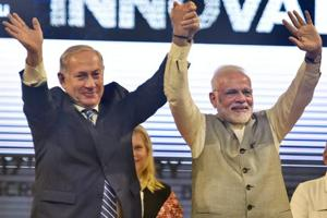 Prime Minister Narendra Modi and Israeli counterpart Benjamin Netanyahu during the inauguration of the International Center For Entrepreneurship & Technology – iCreate at Deo Dholera village in Ahmedabad on Wednesday.