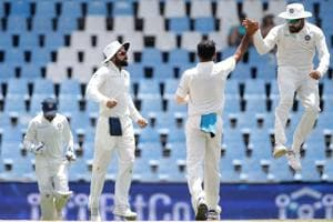 Indian cricket team bowler Mohammed Shami (centre) celebrates the dismissal of South Africa cricket team's Quinton de Kock (not pictured) during the fourth day of the second Test at Supersport cricket ground in Centurion on Tuesday.