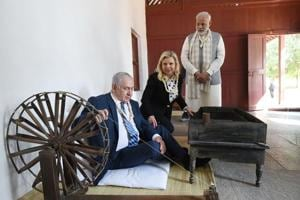 Photos: Benjamin Netanyahu gets a guided tour of Gujarat accompanied...