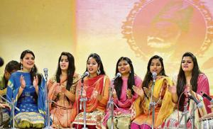 Students performing a qawwali during a seminar on Mirza Ghalib at MCMDAV College in Chandigarh on Wednesday.