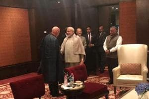 Former Afghanistan president Hamid Karzai meets Narendra Modi during the Raisina Dialogue on January 16.