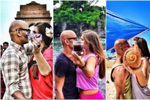 This couple is travelling the world, sealing memories with a kiss