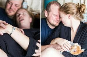 Lucy Schultz and her partner Steve, from Denver, US, did a realistic photoshoot to announce the birth of their… umm.. kitten. (Lucy Schultz/Facebook)