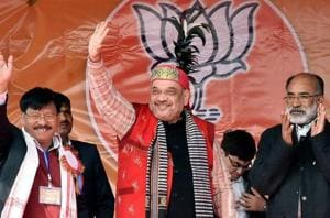 BJP president Amit Shah at an election rally in West Garo Hills, Meghalaya.