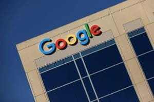 The Google logo is pictured atop an office building in Irvine, California, U.S.