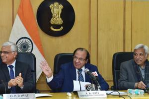 Chief Election Commissioner AK Joti flanked by Election Commissioners Sunil Arora and OP Rawat announces the schedule for Meghalaya, Tripura and Nagaland assembly elections, at a press conference in New Delhi on Thursday.