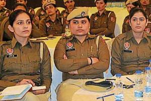 Police personnel participating at a Women Police Conference in Ludhiana on Thursday.