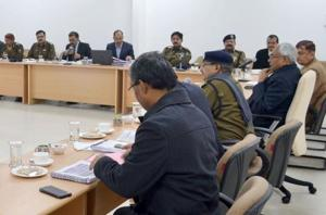 Chief minister Nitish Kumar holding a meeting with officials on law and order in Patna.