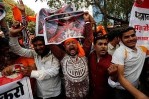 Members of the Rajput community protest against the release of the upcoming Bollywood movie