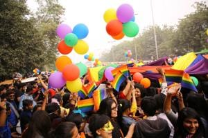 Members and supporters  of LGBT (Lesbians, gays, bisexuals and transgender groups)  groupsduring Delhi's 10th queer Pride march in New Delhi in November 2017.