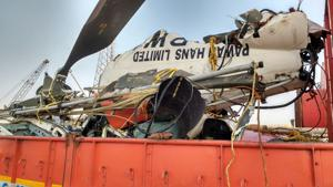 Pawan Hans chopper wreckage brought to Juhu airport for probe