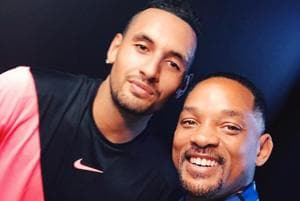 Hollywood star Will Smith clicks a selfie with Nick Kyrgios after the 22-year-old defeated Jo-Wilfried Tsonga to reach the Australian Open tennis fourth round.