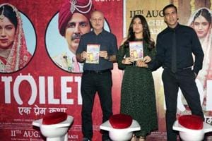 Actors Akshay Kumar (right), Bhumi Pednekar and Anupam Kher during a press conference on Toilet: Ek Prem Katha. The film was inspired by the Swachh Bharat movement and became  a major hit in 2017.