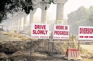 Ongoing metro construction in Delhi.
